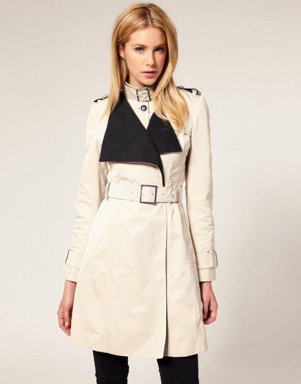 Тренды осень-зима 2019 2020: белое пальто с черным воротником
