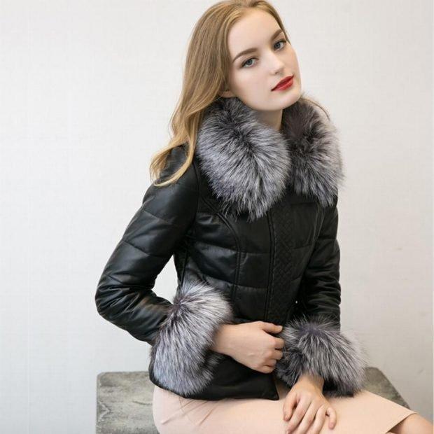 Тренды осень-зима 2019 2020: черная кожаная куртка с мехом