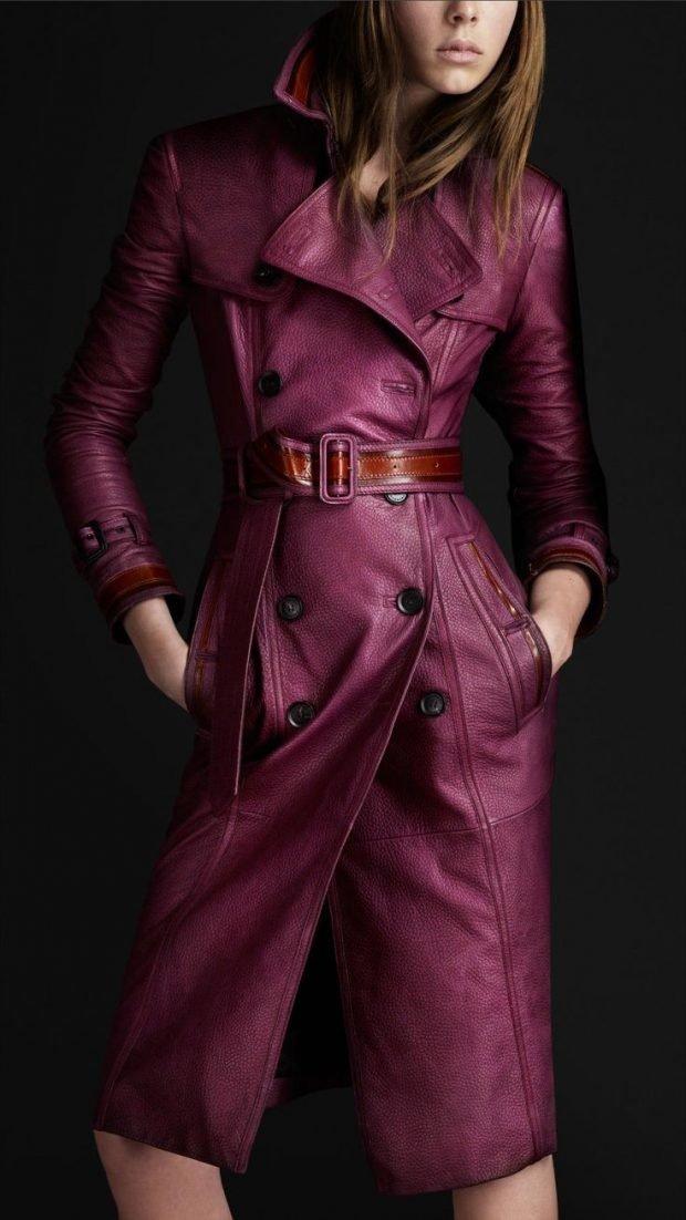 Тренды осень-зима 2019 2020: женский кожаный плащ с поясом