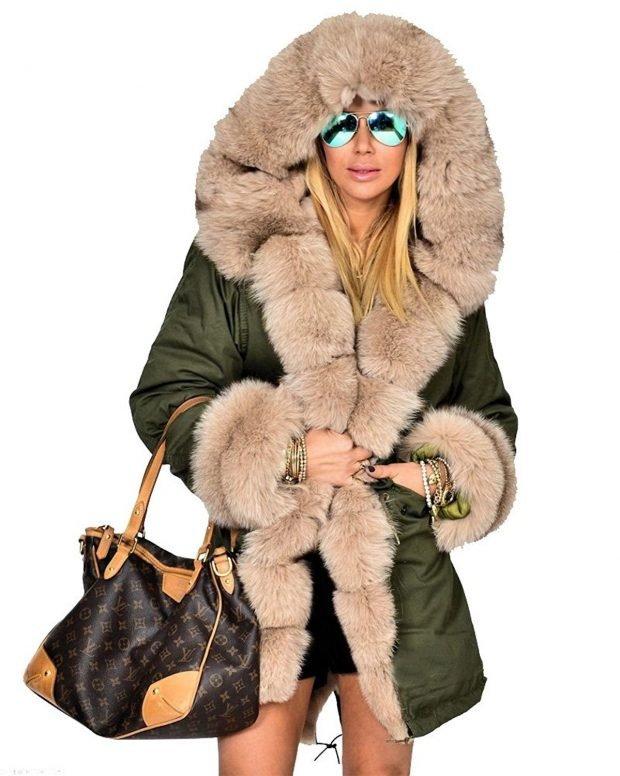 Тренды осень-зима 2019 2020: куртка цвета хаки с объемным мехом