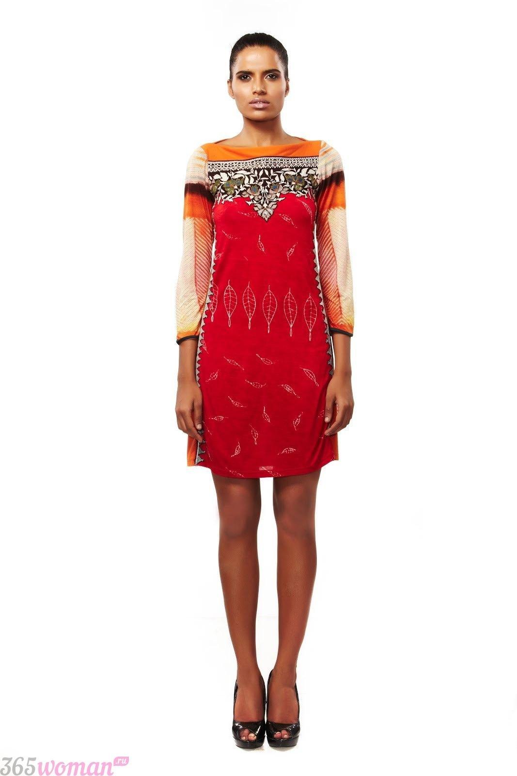 в каком цвете встречать новый год: разноцветное вечернее платье с оранжевым цветом