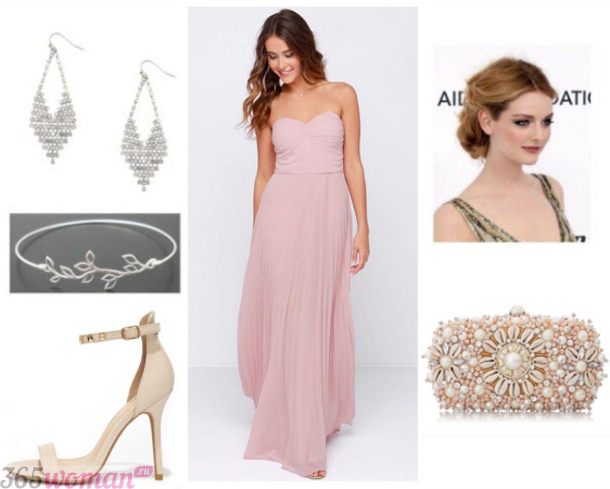 в каких цветах встречать новый год 2019: вечерний образ с розовым платьем