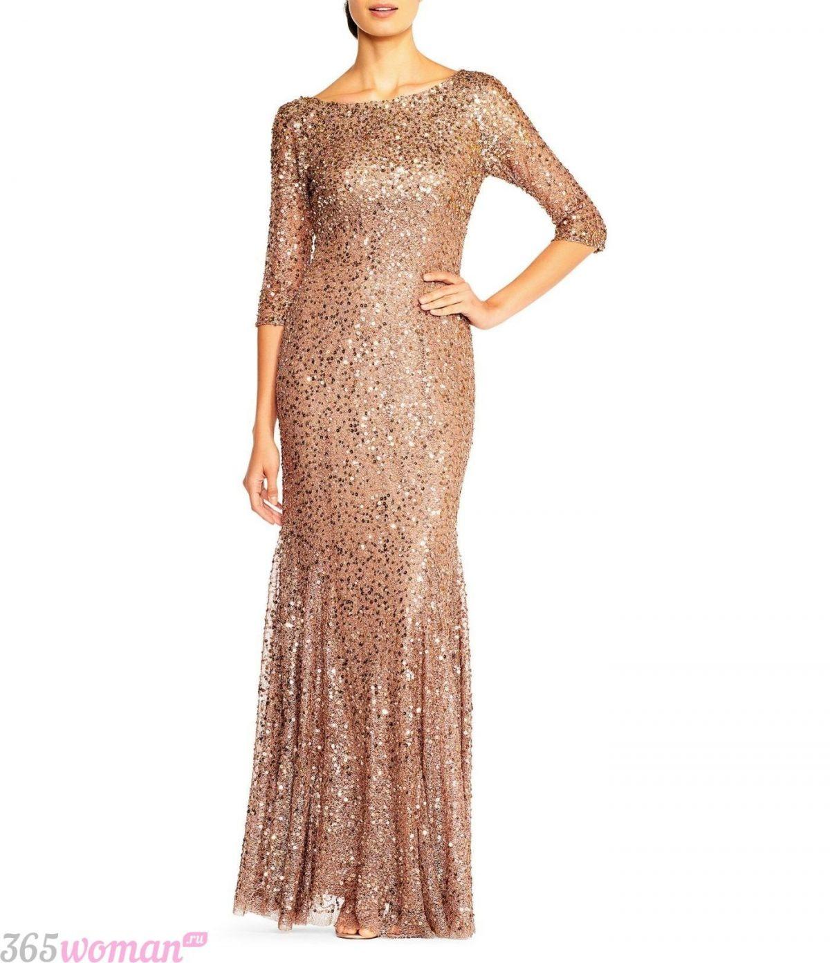 в каком цвете встречать новый год: длинное платье золотого цвета