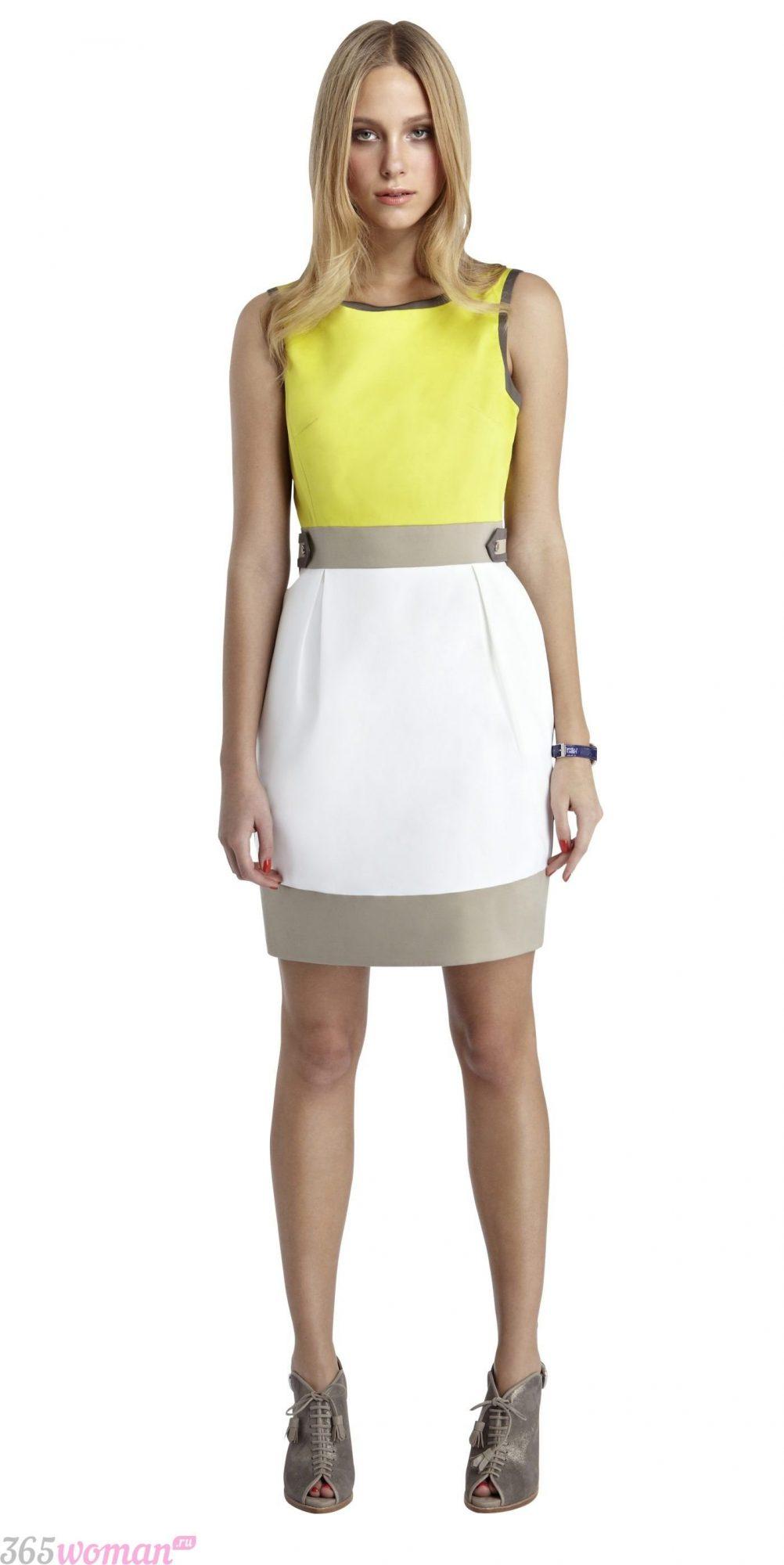 в каком цвете встречать новый год: цветное платье с желтой вставкой