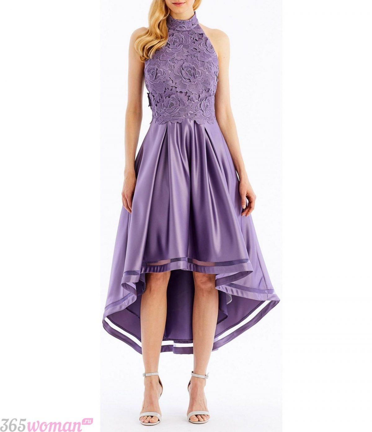 какой цвет встречать новый год 2019: фиолетовое платье удлиненное сзади