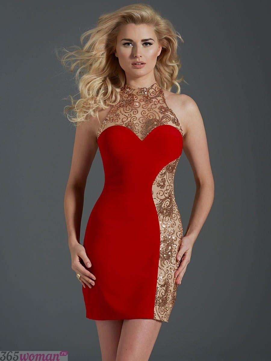 В каком цвете встречать 2021 год быка: красное платье мини с золотым декором