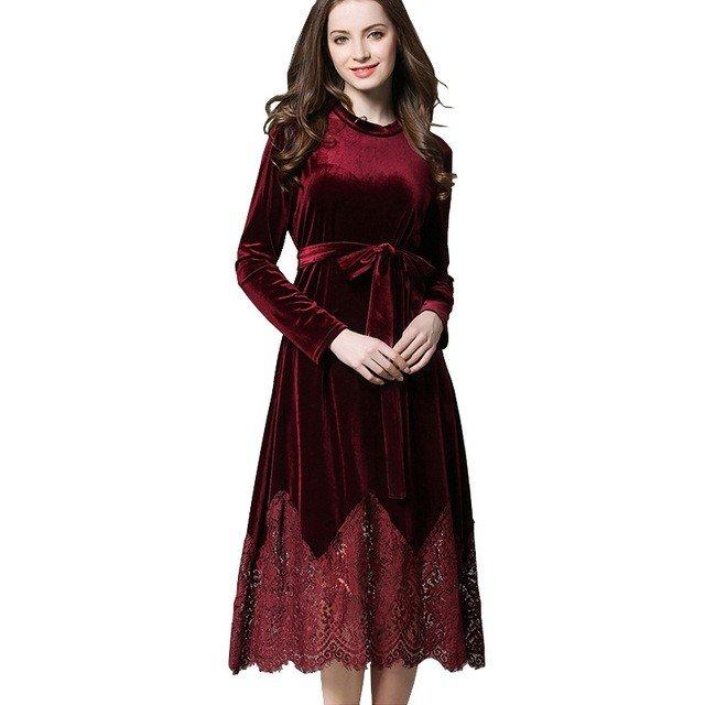 бордовое платье миди из бархата