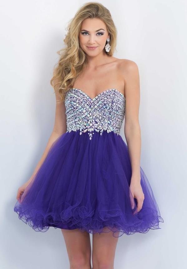 короткое платье с фиолетовой пышной юбкой и корсетом в стразах