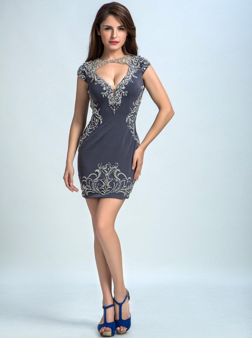 серое короткое платье