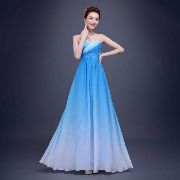 длинное платье с пышной юбкой с эффектом омбре