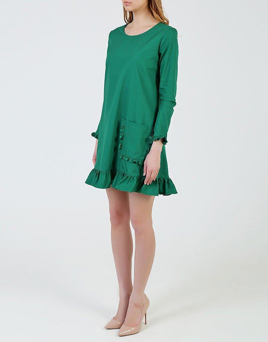 зеленое платье трапеция с рюшами