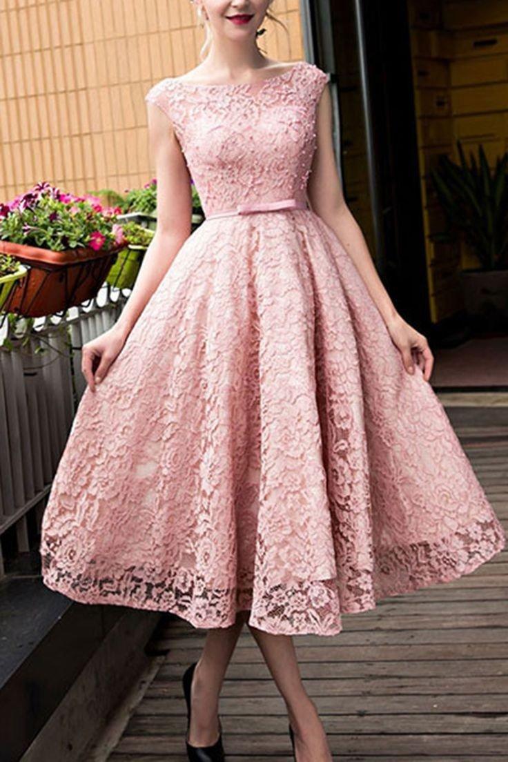 кружевное платье миди цвета пудры