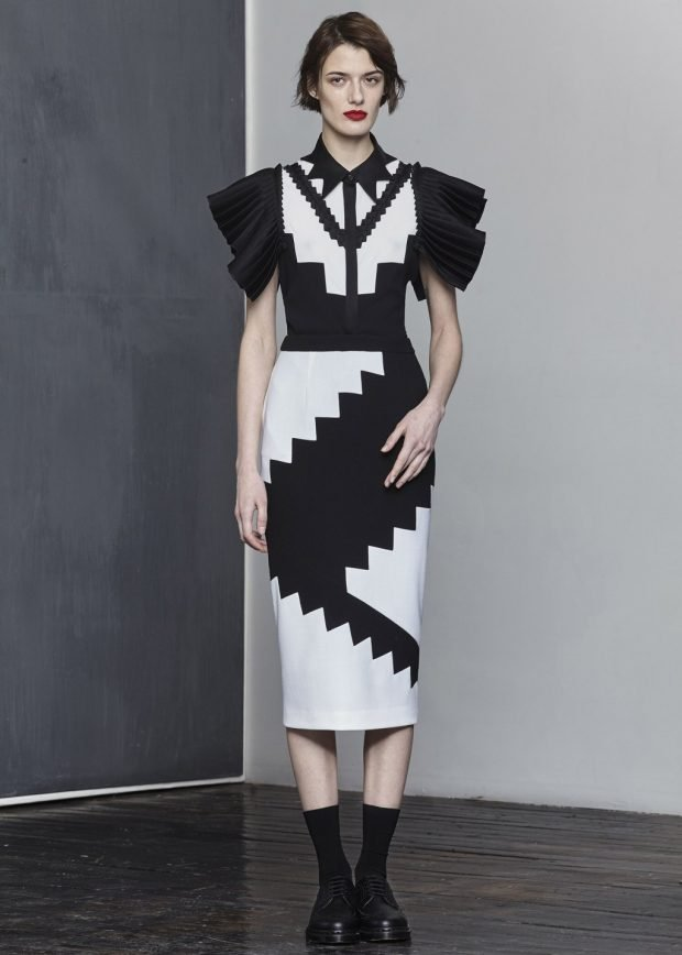 черно-белое платье геометрический принт