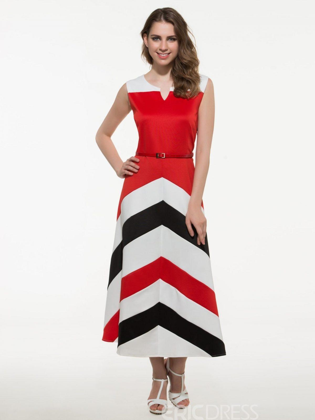 длинное платье с геометрическим узором