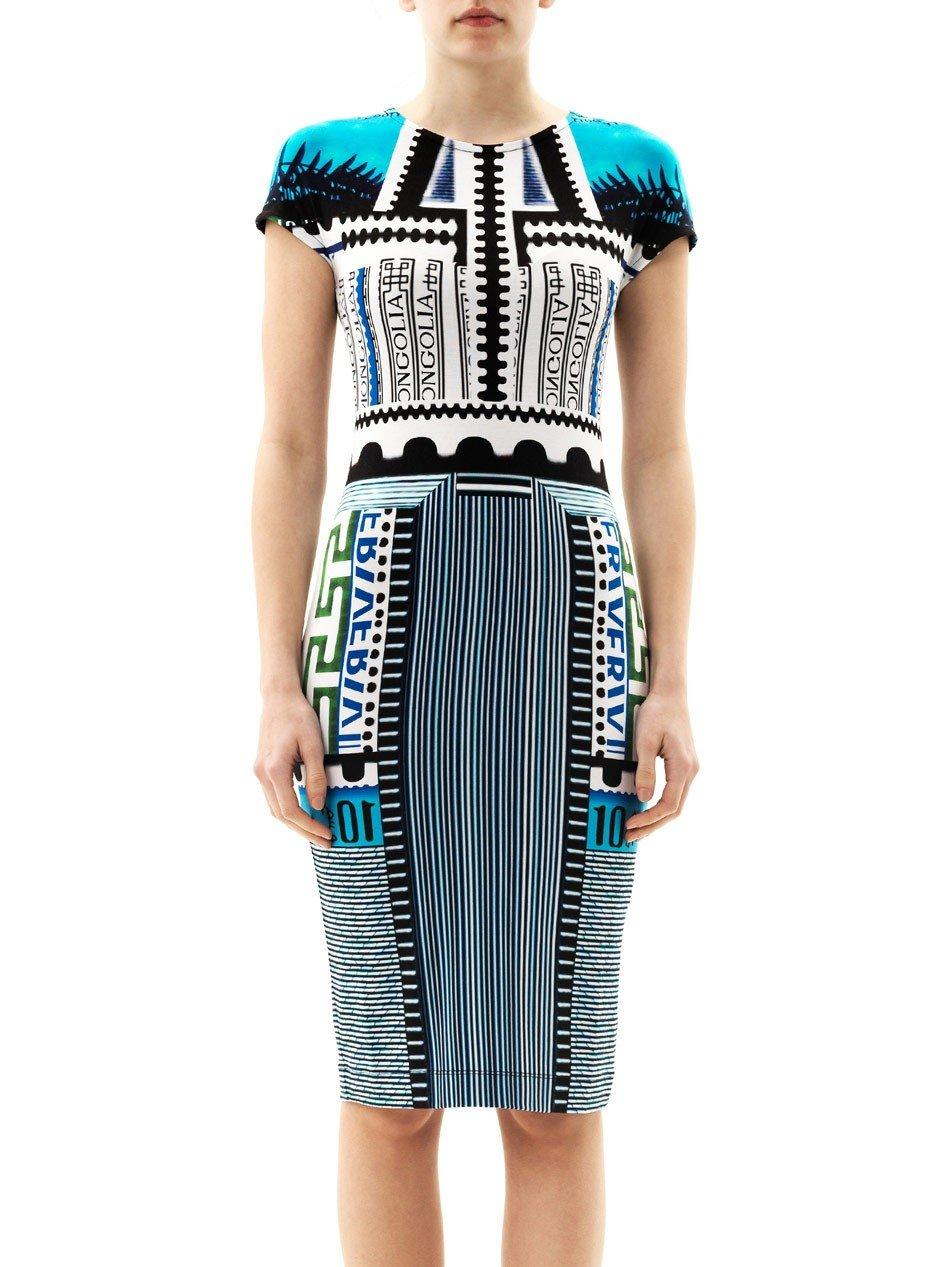 платье до колена геометрический узор