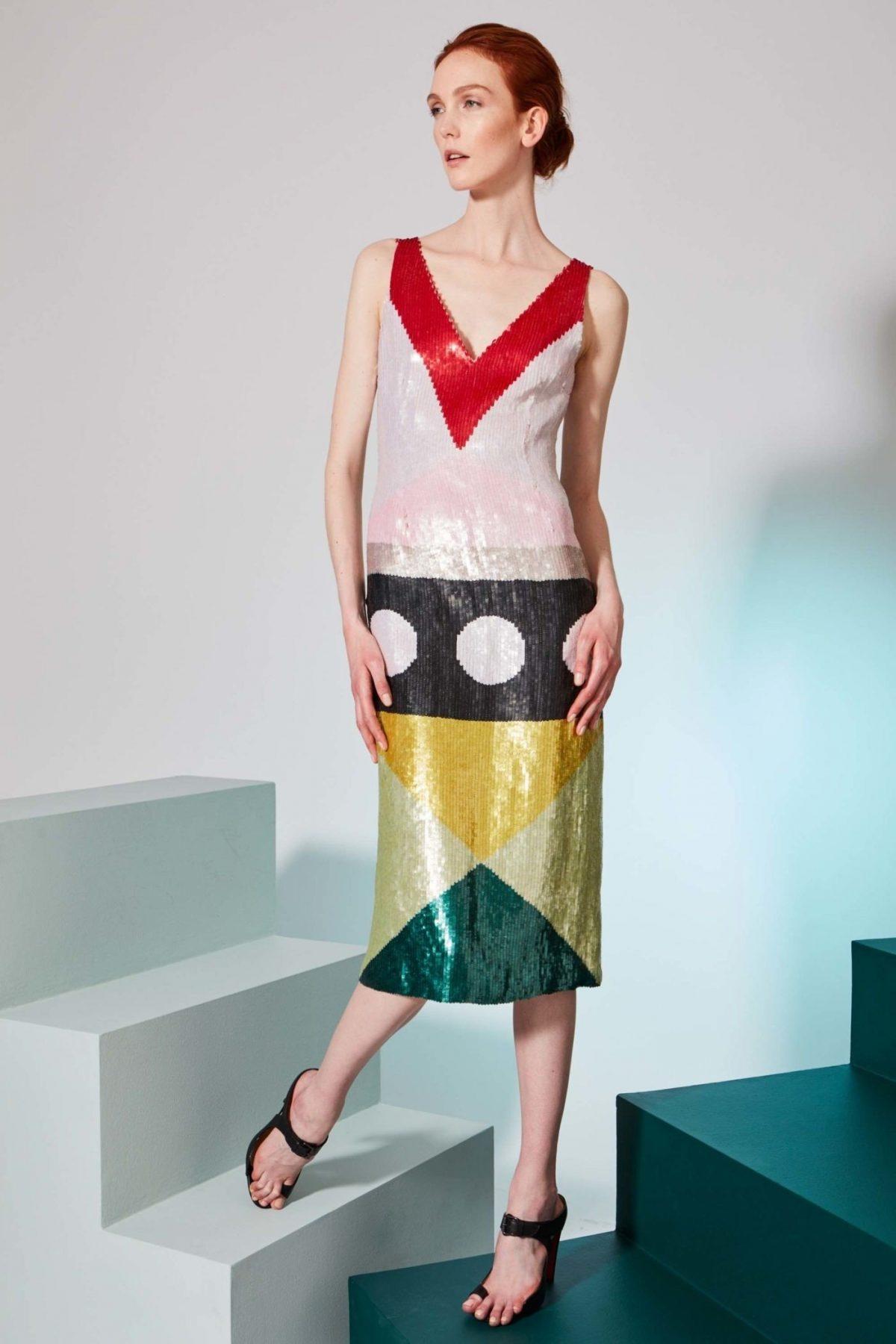 блестящее платье геометрический принт