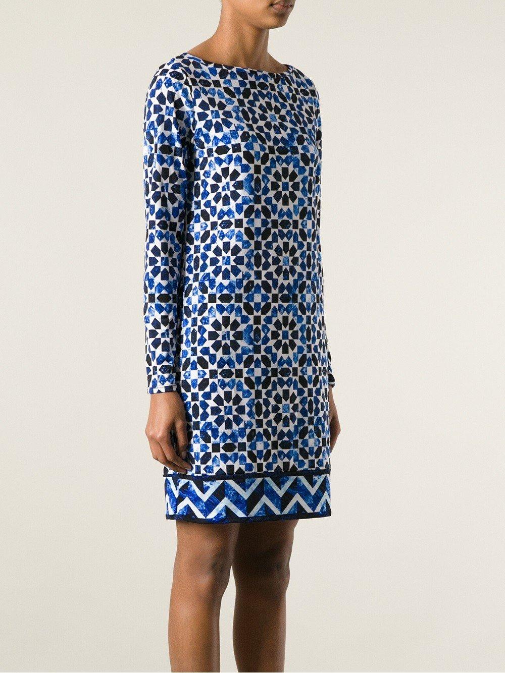 платье с длинным рукавом геометрический принт