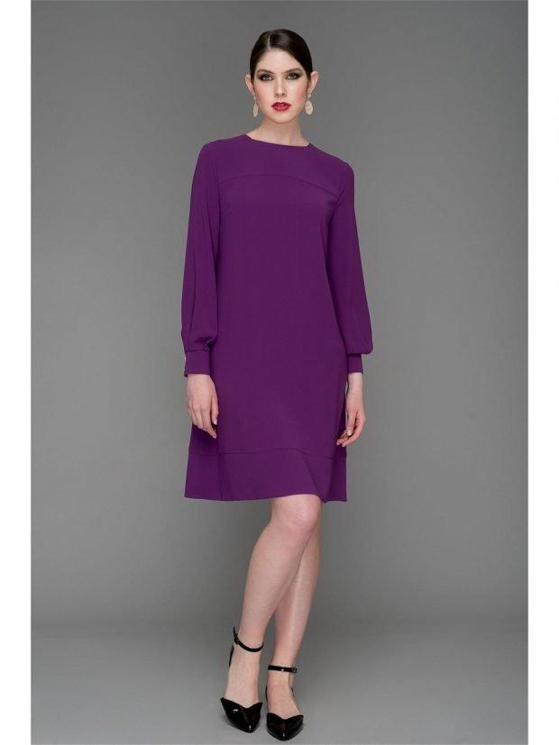 фиолетовое платье свободного кроя