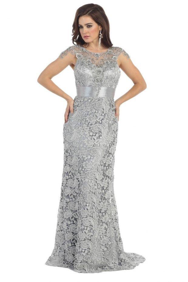 длинное серое кружевное платье