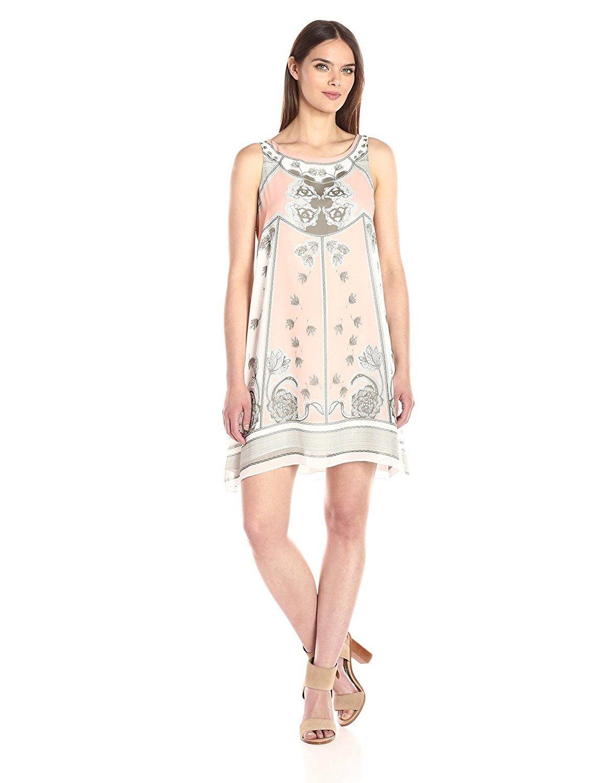 платье трапеция пастельного цвета с рисунком