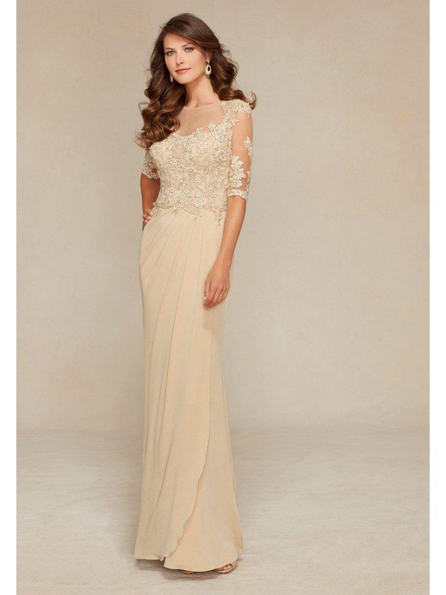 бежевое длинное нарядное платье