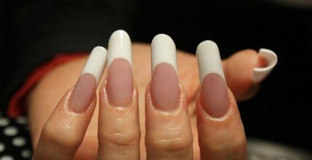 арочное наращивание ногтей: форма ногтей френч