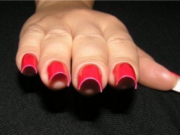 арочное наращивание ногтей: форма красные