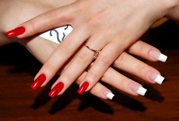 арочное моделирование ногтей: форма красный маникюр френч классика