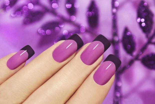арочное моделирование ногтей: форма фиолетовый френч