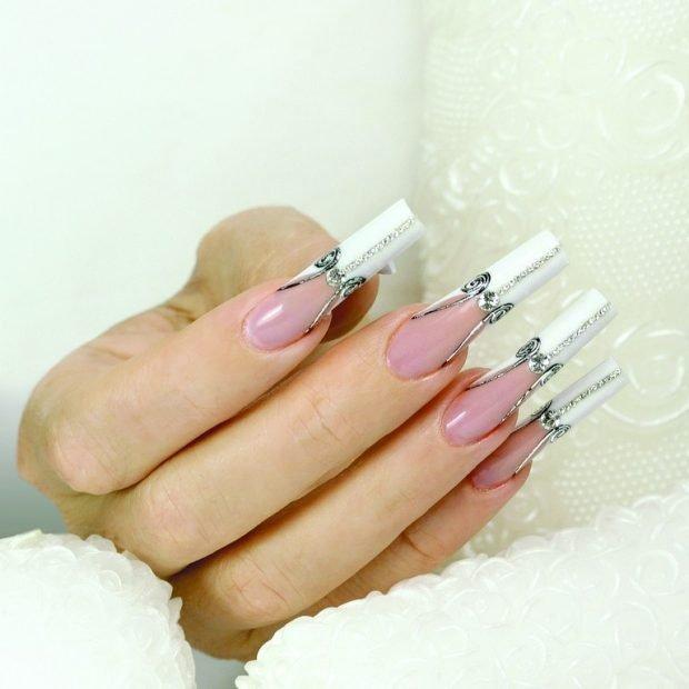 арочное моделирование ногтей гелем: френч с бантиками