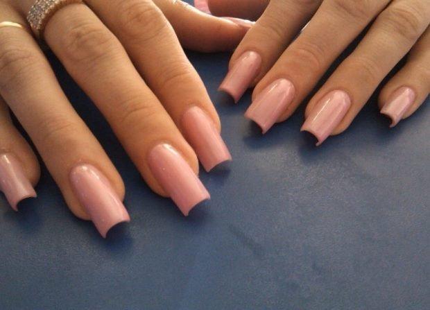 арочное моделирование ногтей гелем: форма цвет нюд
