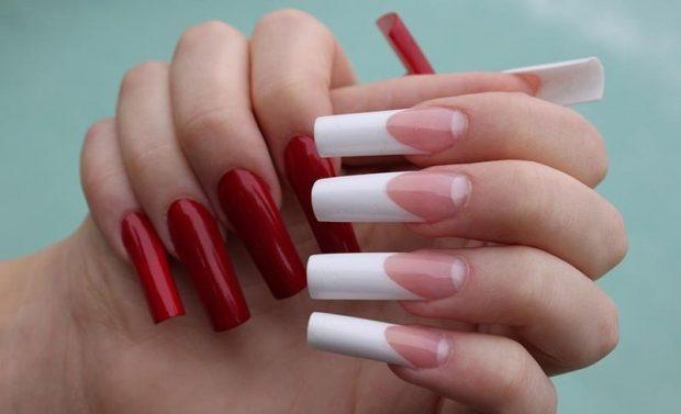 арочное наращивание ногтей: форма ногтей красные и френч