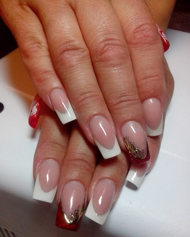 арочное наращивание ногтей фото: форма френч красный с белым