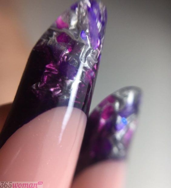 арочное наращивание ногтей фото: форма френч аквариум