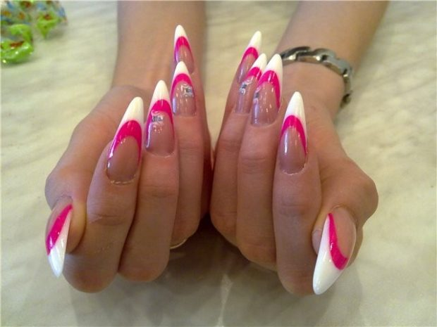 арочное наращивание ногтей фото: форма френч розовый с малиновым