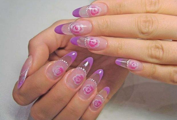 арочное наращивание ногтей гелем: форма прозрачный с цветками
