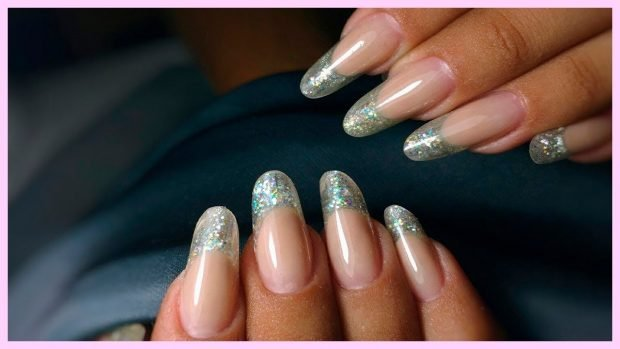 арочное моделирование ногтей: форма френч серебро