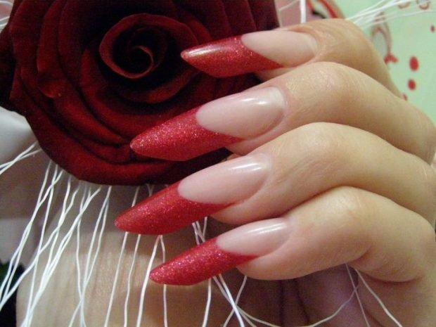 арочное моделирование ногтей: форма френч красный