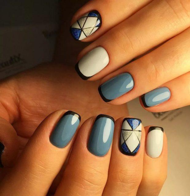 маникюр дизайн ногтей шеллак: серый маникюр с геометрией