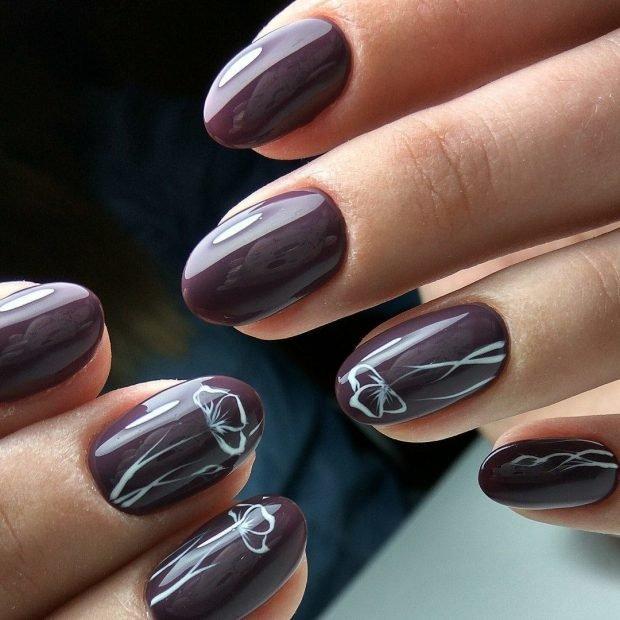 маникюр дизайн ногтей шеллак: бордовые ногти с белым рисунком