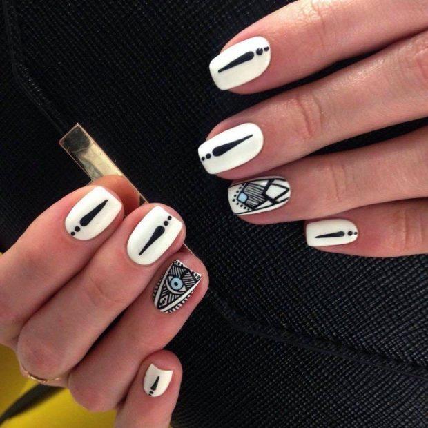 маникюр шеллак 2019 2020 ногти белые с черным