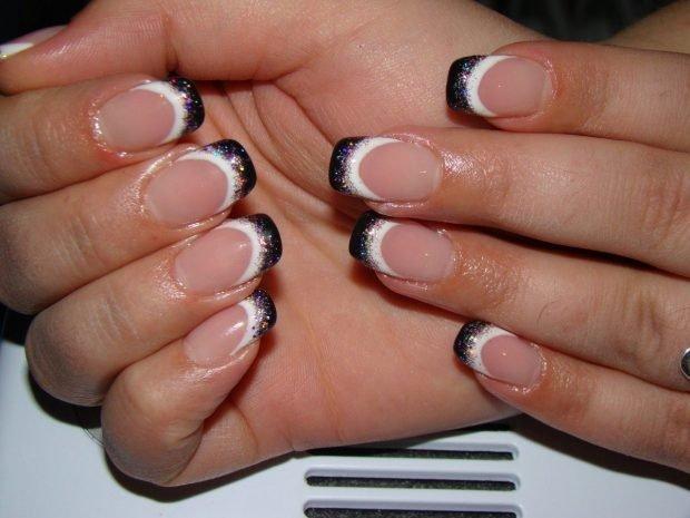 дизайн ногтей шеллак 2018 френч улыбка черная с белыми блестки