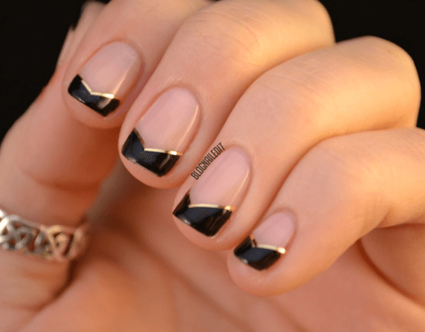 дизайн ногтей шеллак 2018 френч с черной улыбкой-углами