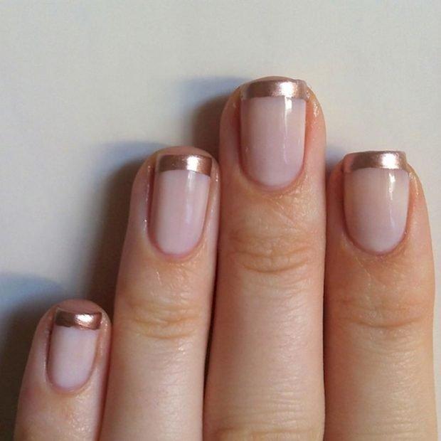 дизайн ногтей шеллак 2018 френч улыбка золотая