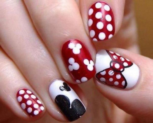 дизайн ногтей шеллак 2018 ногти с рисунком красные с белым и черным