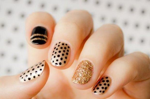 дизайн ногтей шеллак 2019 2020 ногти золотые с рисунком