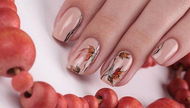 дизайн ногтей шеллак ногти с рисунком листья дерева 2018