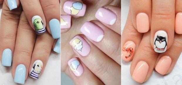 дизайн ногтей шеллак ногти с рисунками с птичкой пироженкой животными 2018 2019