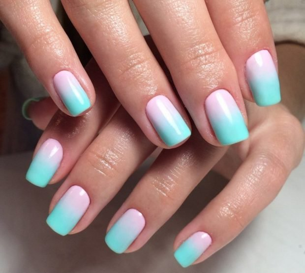 дизайн ногтей шеллак омбре розовое с бирюзовым