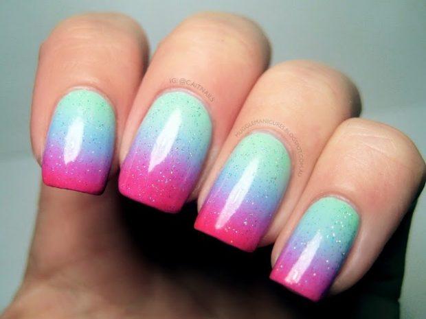 омбре розовый с бирюзовым - дизайн ногтей шеллак 2018
